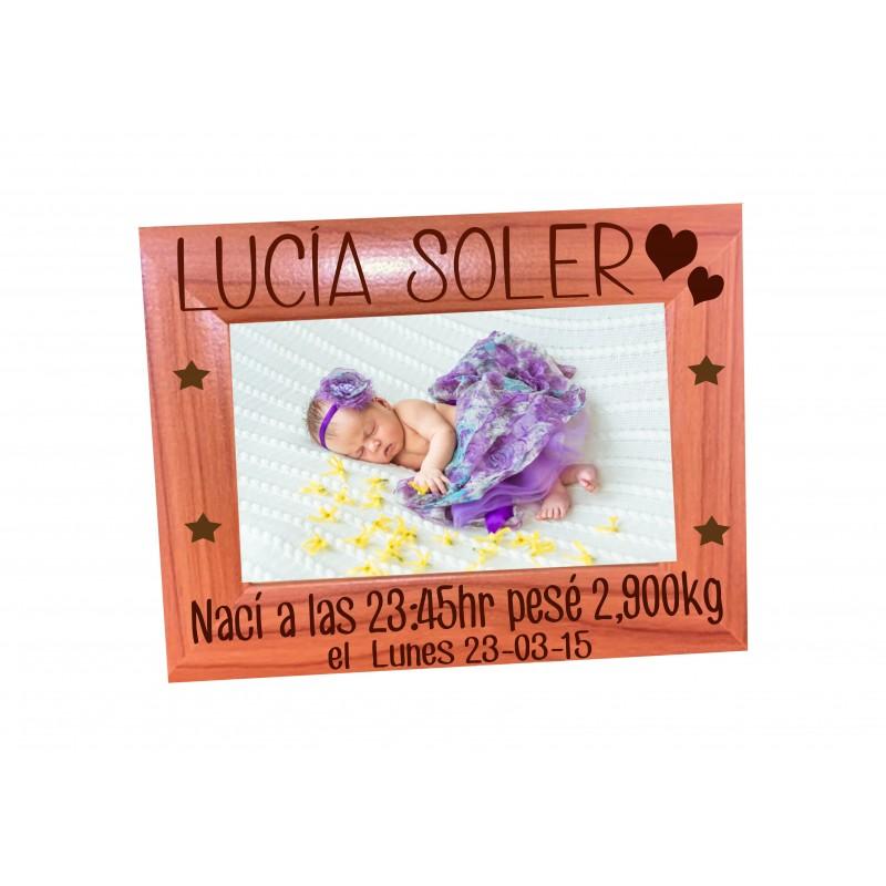 Marco de foto en madera personalizado - Recuerdo nacimiento del bebe