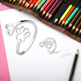 Anillo ajustable en plata de ley huella de mascota