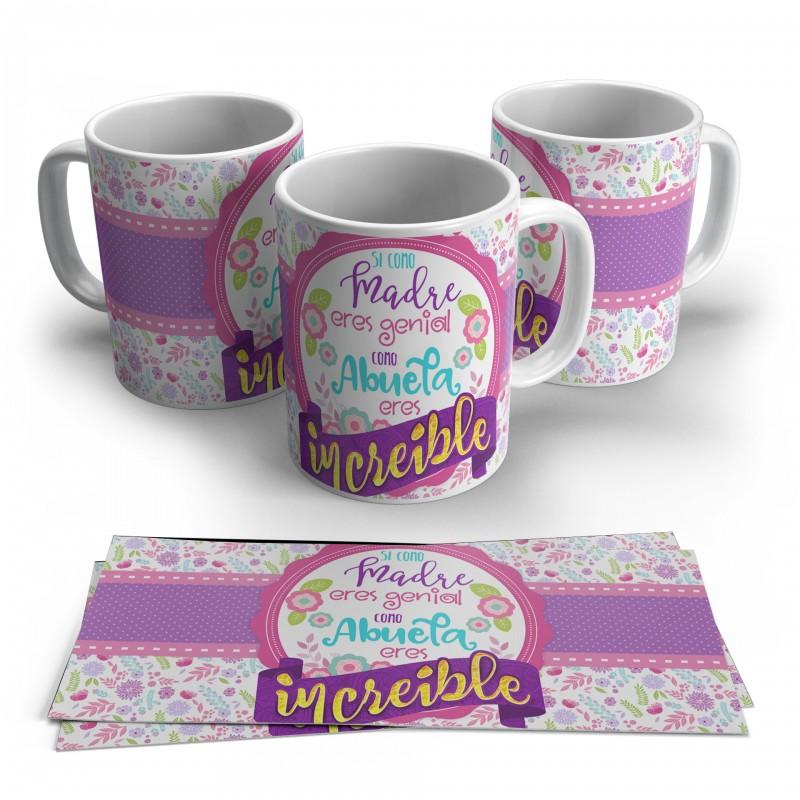 Taza regalo para mamas y abuelas floral