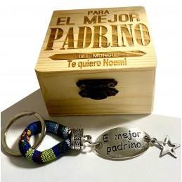 Regalo pdrino Caja+llavero dúo especial bautizos