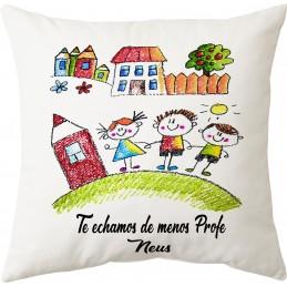 Cojin regalo profesores y monitores con dibujo de cada niño