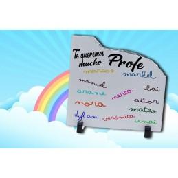 Piedra piarra personaliada con los nombres a puño y letra