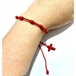 Pulsera roja con 7 nudos franciscanos amuleto protector