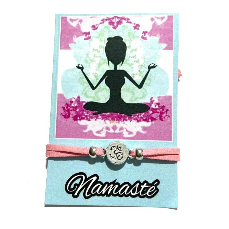 Pulsera ajustable rosa Namasté con símbolo de Om