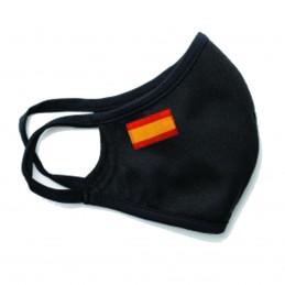 Mascarilla tapa bocas negra con bandera de españa