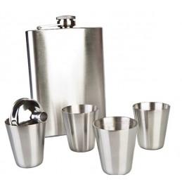 Juego de petaca con 4 vasos y embudo personalizable