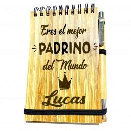 Libreta de madera de bambú con bolígrafo personalizada