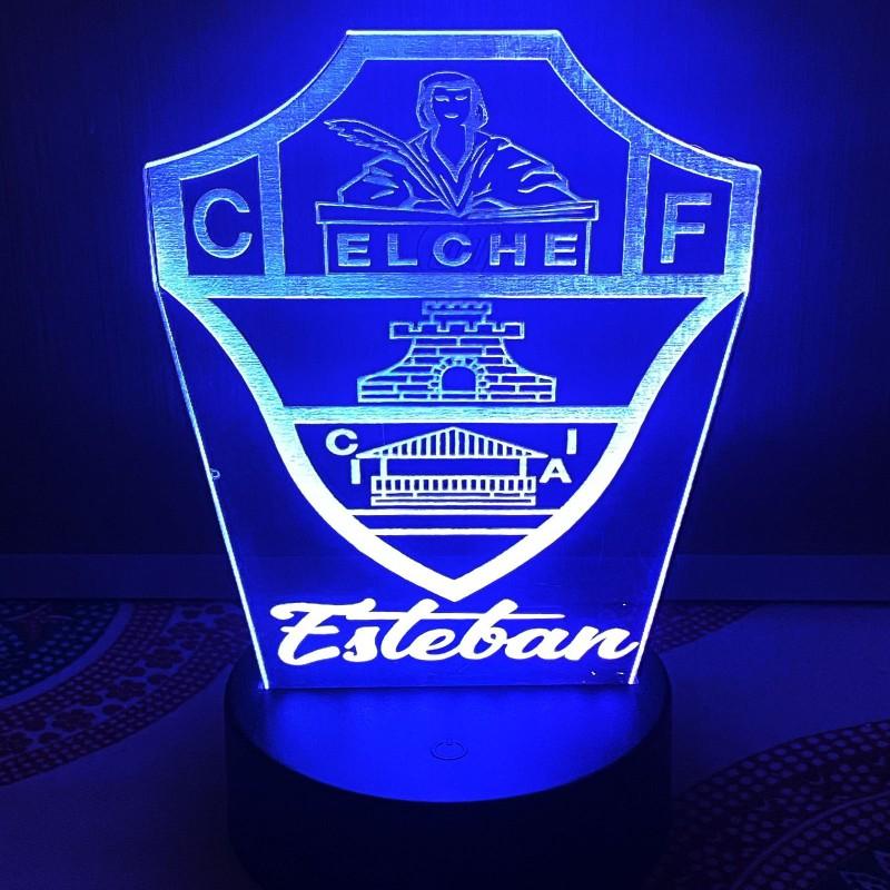 Lámparas led 3D personalizadas con escudo Elche Club de Fútbol