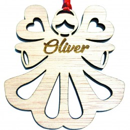 Ángel para árbol de navidad con nombre grabado