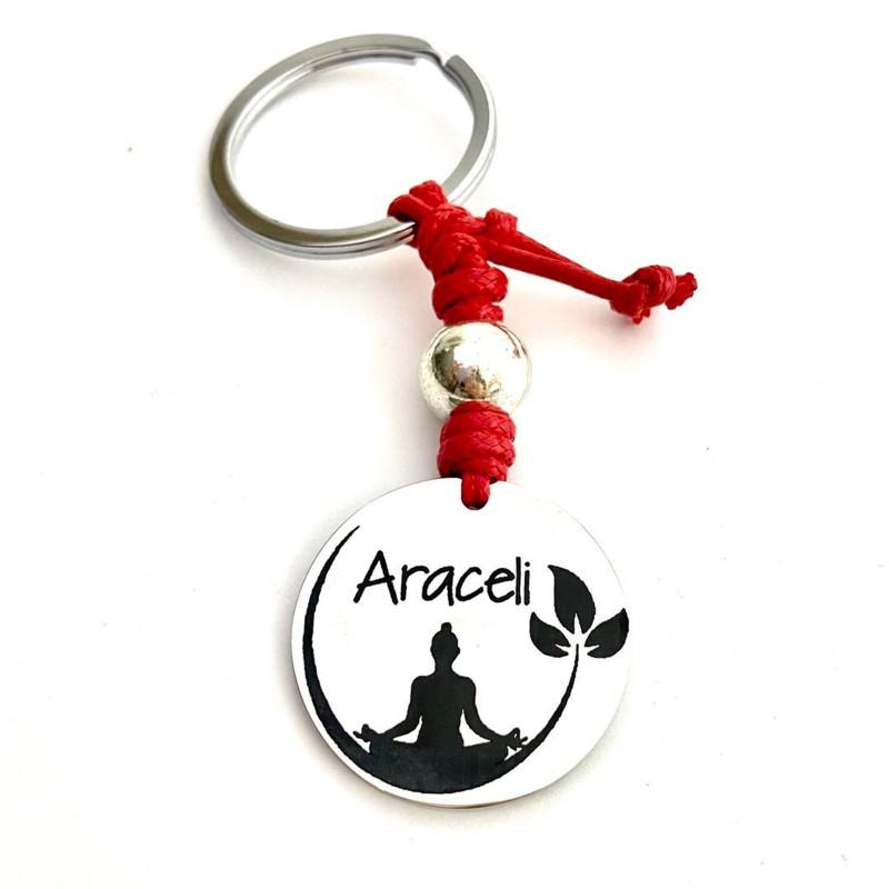 Llavero yoga namasté con nombre