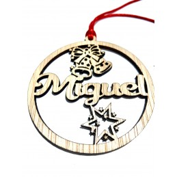 Bola de Navidad de madera natural personalizada
