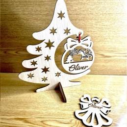 Adorno de Navidad en madera árbol con esfera personalizada