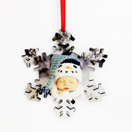 Colgante decoración navideña de MDF, dos caras estampada