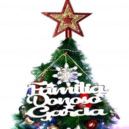 Adorno de madera navideño para el hogar con vuestro nombre