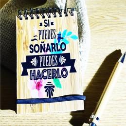 Libreta de madera de bambú con bolígrafo personalizada a todo color