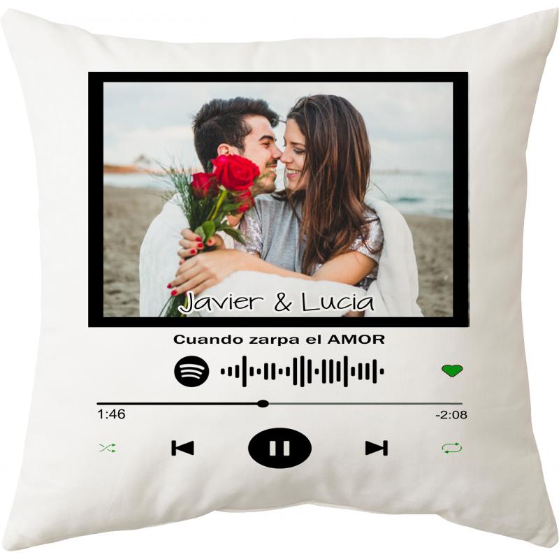 Cojín enamorados con vuestra canción spotify