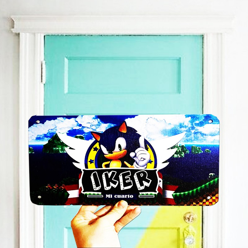 Cartel de madera para puertas de dormitorios infantiles