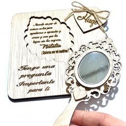 Regalo de pedida para madrinas personalizado con espejo ¿quieres ser mi madrina)