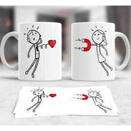 Duo tazas blanca personalizada enamorados iman