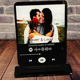 Placa con foto de Música Acrílica con Código de Spotify