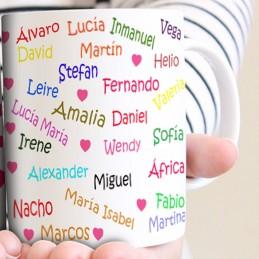 Taza regalo profesores con todos los nombres de los niños