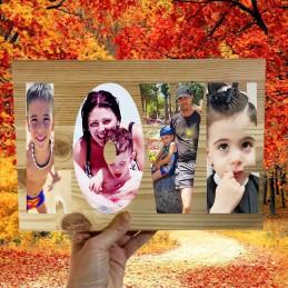 Bloque de madera de pino con letras y tus fotos LOVE