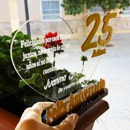 Regalo aniversario trofeo personalizado / Bodas de oro plata bronze