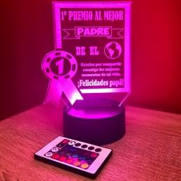 lámpara de metacrilato personalizada, trofeo al mejor papá del mundo