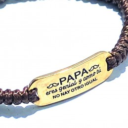 Original y exclusiva pulsera de acero inoxidable dorado con frase cariñosa para los papas