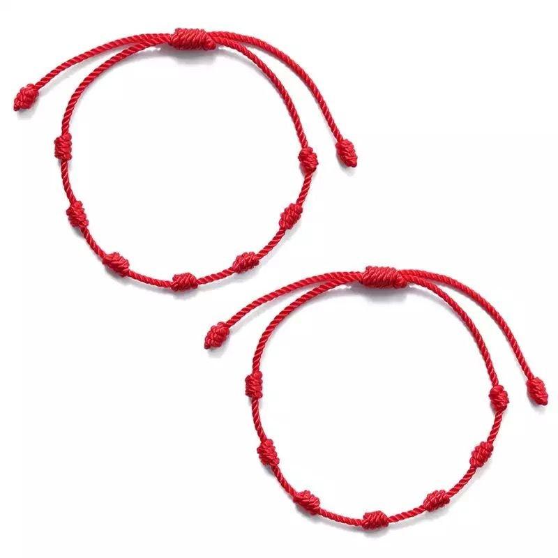 Pulsera de cuerda roja de 7 nudos para la protección del mal de ojo, amuleto de buena suerte para el éxito