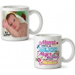Taza Cerámica para la Mejor Mamá, Porcelana, con foto