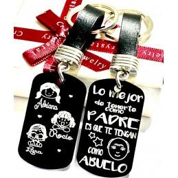 Llavero personalizado en negro para los abuelos