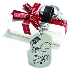 Llavero personalizado con dibujos de los niños de su puño y letra