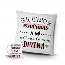 Lote la madrina mas divina - Cojín y taza personalizada