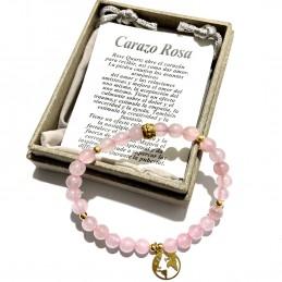 Pulsera cuarzo rosa, piedra del amor con etiqueta y caja
