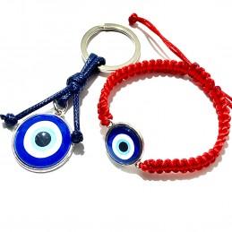 Dúo de pulsera y llavero con ojo turco- amuletos mal de ojo