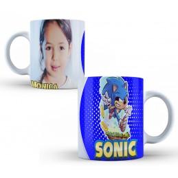 Taza regalo niños con personaje erizo azul con foto personalizada