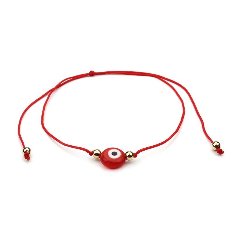 Pulsera amuleto hilo ojo turco rojo ajustable