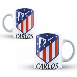 Taza de porcelana Atlético de Madrid personalizada o tu escudo favorito