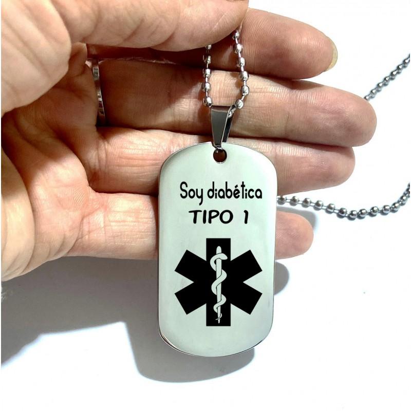 Diabetes Tipo 1 Medical Alert diabética etiqueta colgante collar