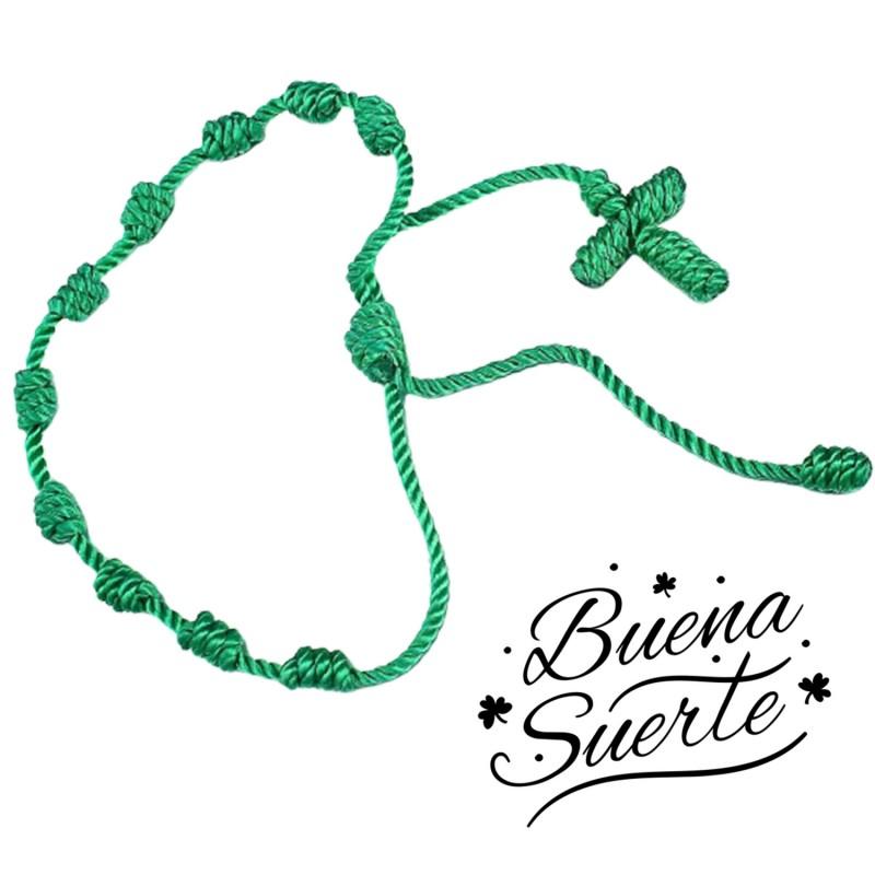 Pulsera 7 nudos verde de la suerte y salud ,amuleto para atraer la buena suerte