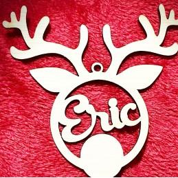 Adorno de madera , forma Reno de Navidad con nombre