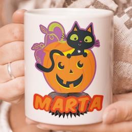 Taza halloween gato y calabaza personalizada